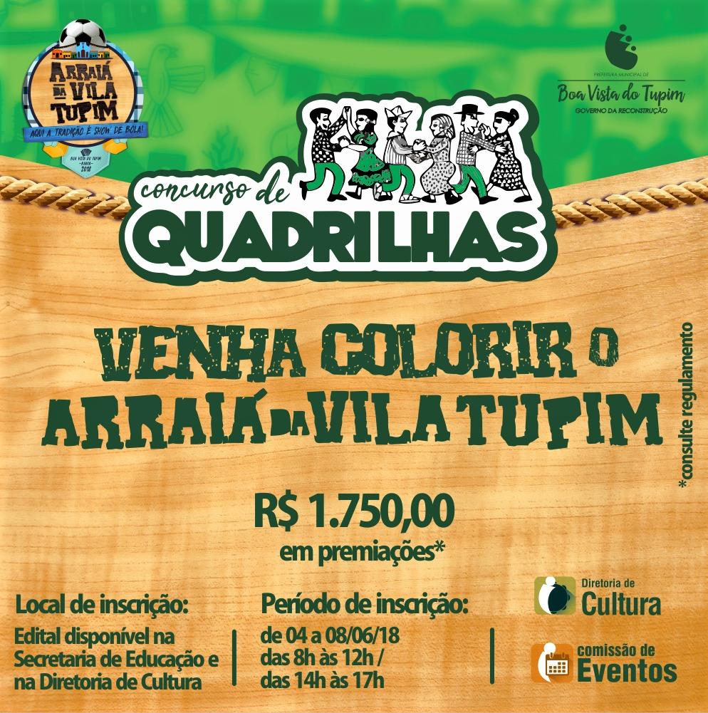 """Diretoria de Cultura recebe inscrições para """"Concurso de Quadrilhas Juninas"""" para o Arraiá da Vila Tupim 2018"""