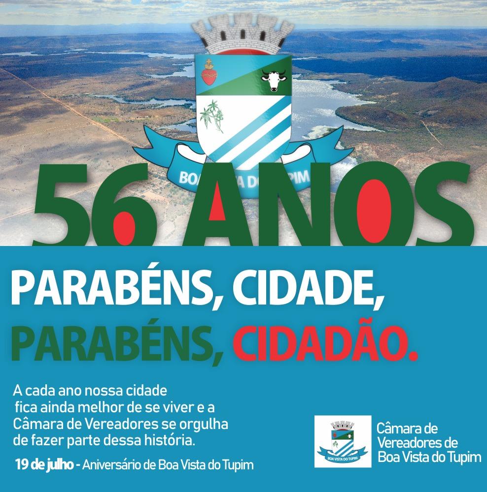 Mensagem da Câmara Municipal de Boa Vista do Tupim por ocasião do aniversário de 56 anos da cidade