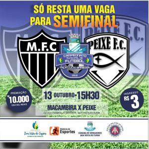 Dois jogos neste final de semana definem os semi-finalistas do Campeonato Municipal de Boa Vista do Tupim