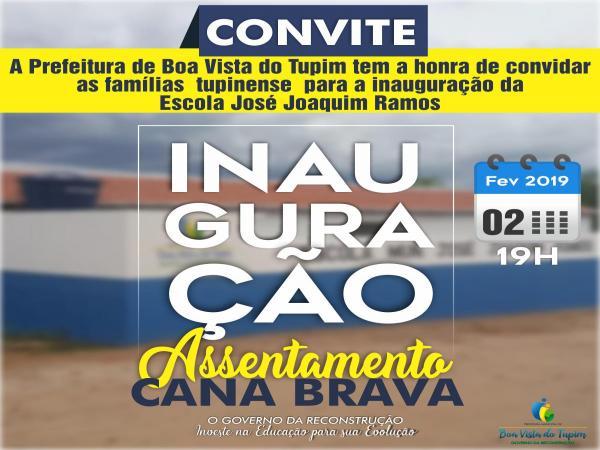 Prefeitura de Boa Vista do Tupim investe em educação e convida para inauguração de uma nova escola no Assentamento Cana Brava