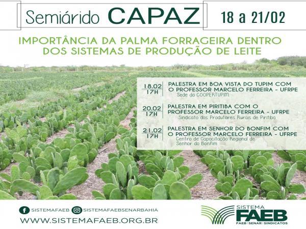Palestra sobre a  Importância da palma forrageira, será realizada em Boa Vista do Tupim