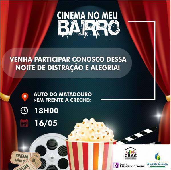 Hoje tem o projeto Cinema no Bairro, dessa vez no Alto do Matadouro, em frente a creche ás 18 horas