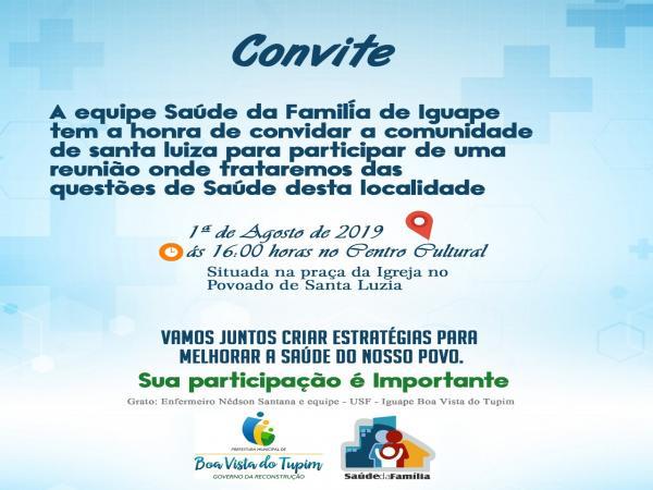 Equipe de Saúde do Iguape convida moradores de Santa Luzia para reunião sobre saúde na localidade