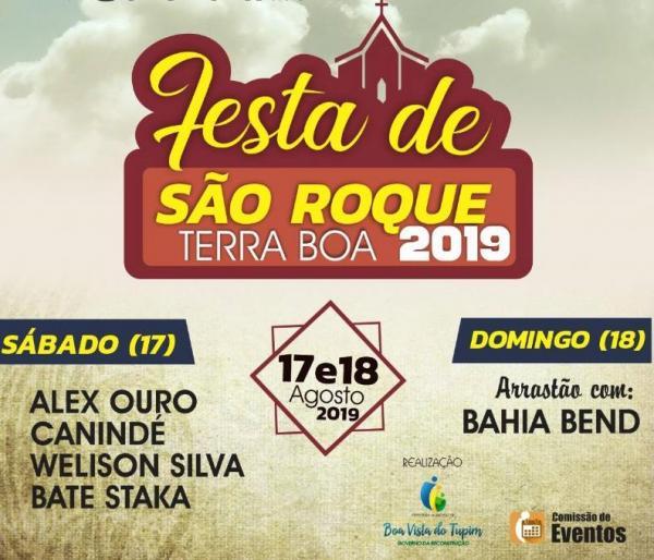 Neste final de semana vai ter a tradicional festa de São Roque, na localidade de Terra Boa em Boa Vista do Tupim