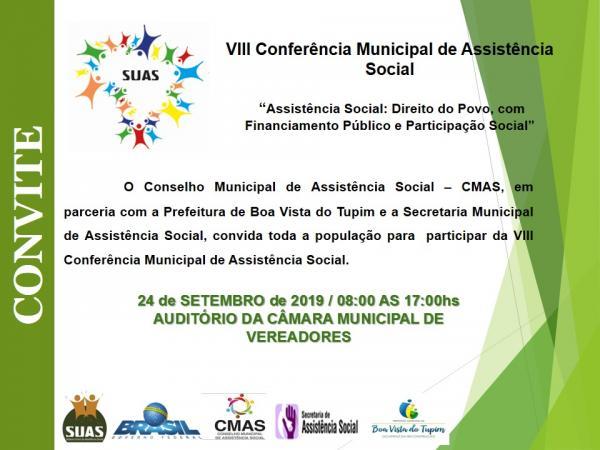 Secretaria de Assistência Social de Boa Vista do Tupim convida para a VIII Conferência Municipal que terá como tema: Direito do Povo, com Financiamento Público e Participação Social