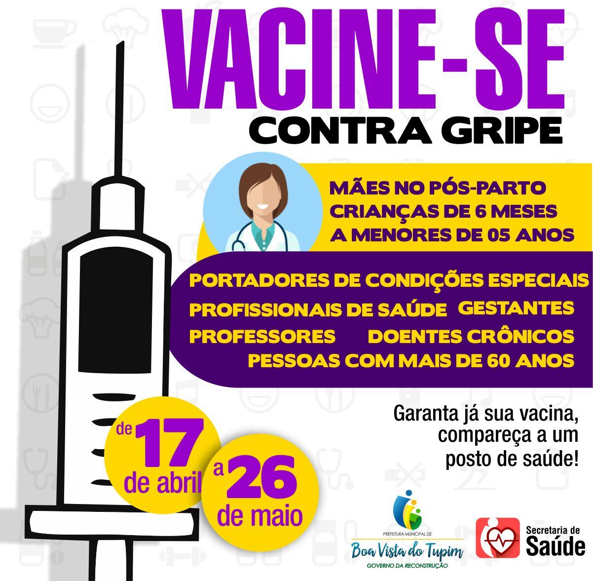 Secretaria de Saúde inicia campanha de vacinação contra a gripe em Boa Vista do Tupim