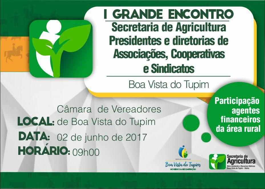 Secretário de Agricultura convoca reunião com Associações, Cooperativas e Sindicatos de Boa Vista do Tupim