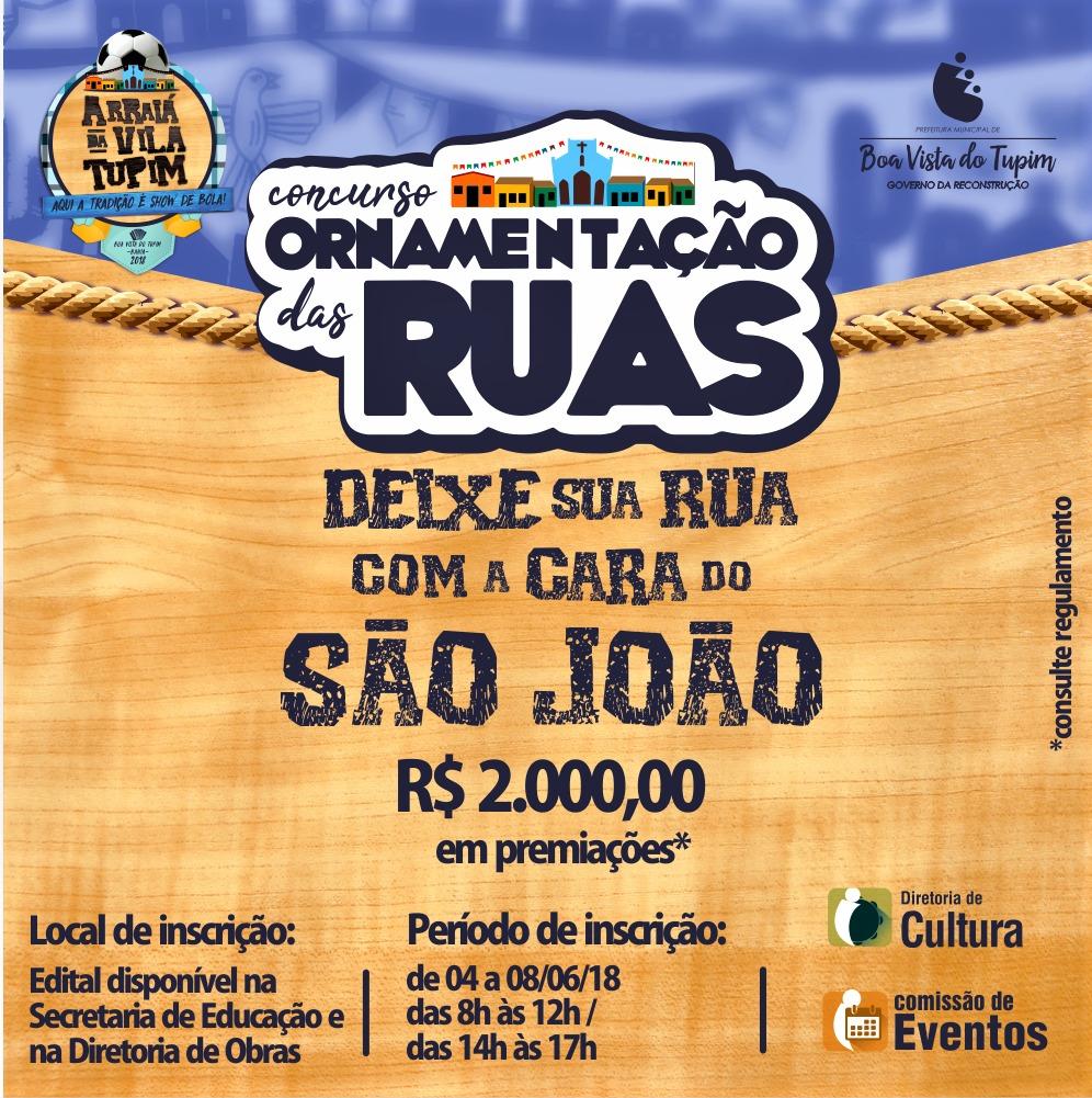 Prefeitura abre inscrições de concurso que irá premiar rua mais bonita do São João de Boa Vista do Tupim