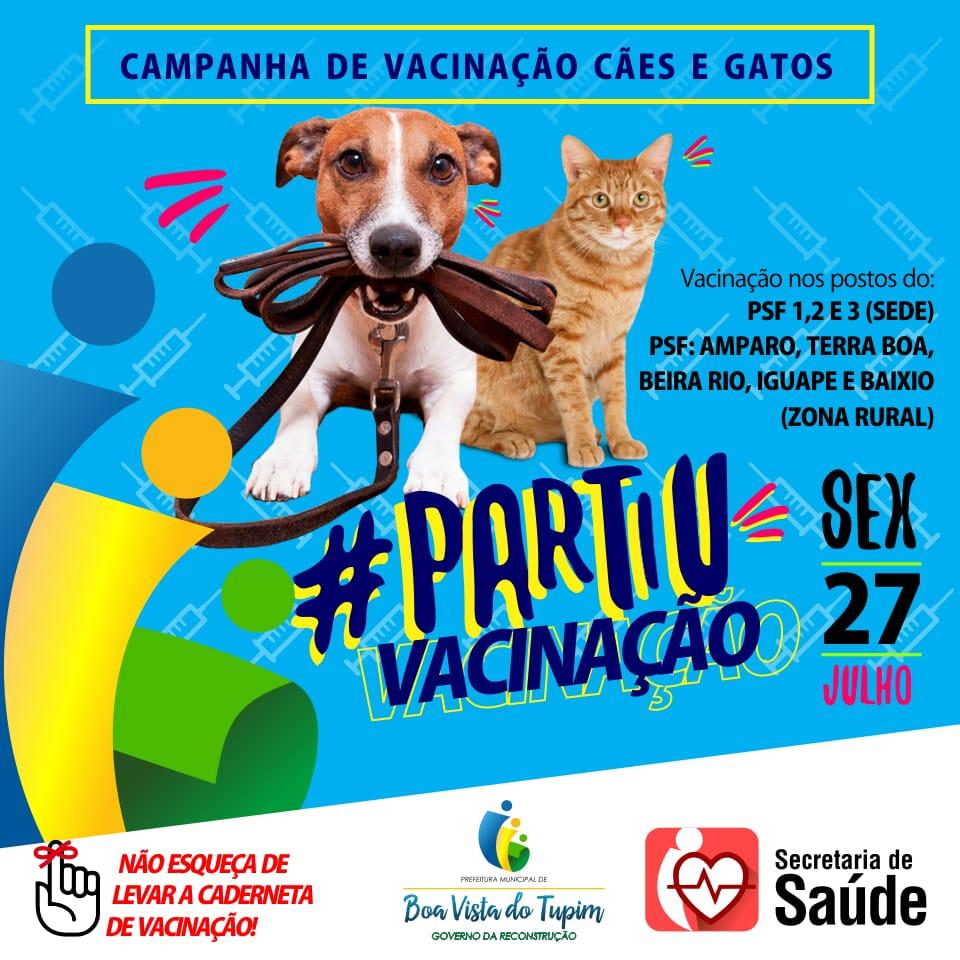 Campanha para vacinar cães e gatos contra a raiva começa nesta sexta em Boa Vista do Tupim
