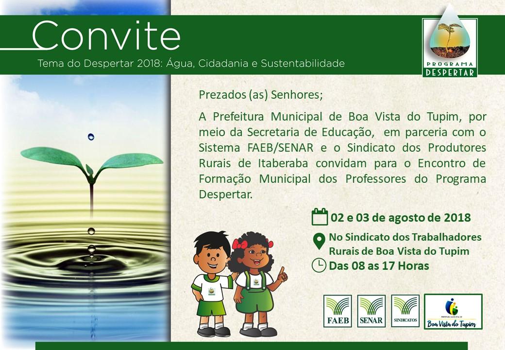 Prefeitura de Boa Vista do Tupim firma parceria com Senar e Faeb e realiza  Encontro de Formação Municipal dos Professores do Programa Despertar