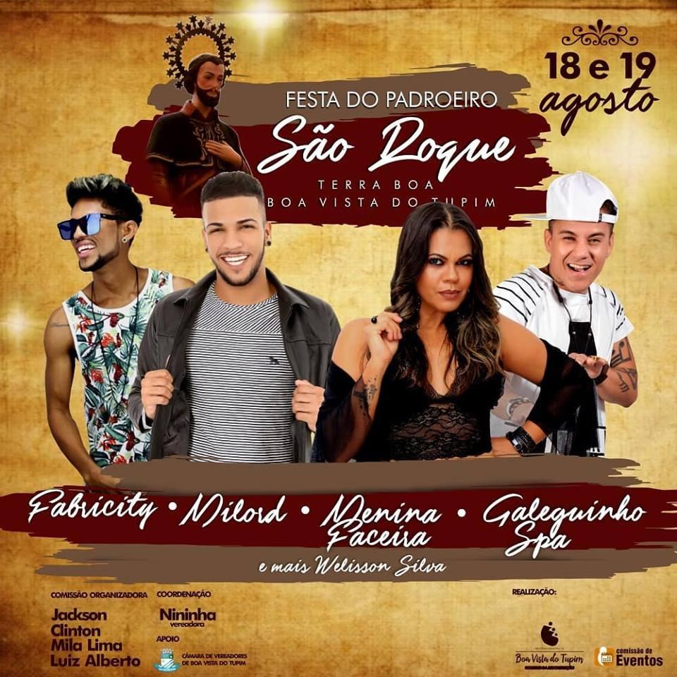 Confira as atrações da festa de São Roque, que acontece nesse final de semana em Boa Vista do Tupim