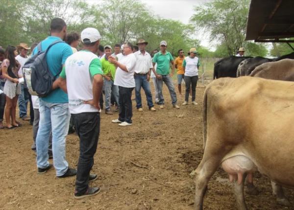 Funcionários e o proprietário Dr. João Alvim demonstraram passo a passo da produção de leite