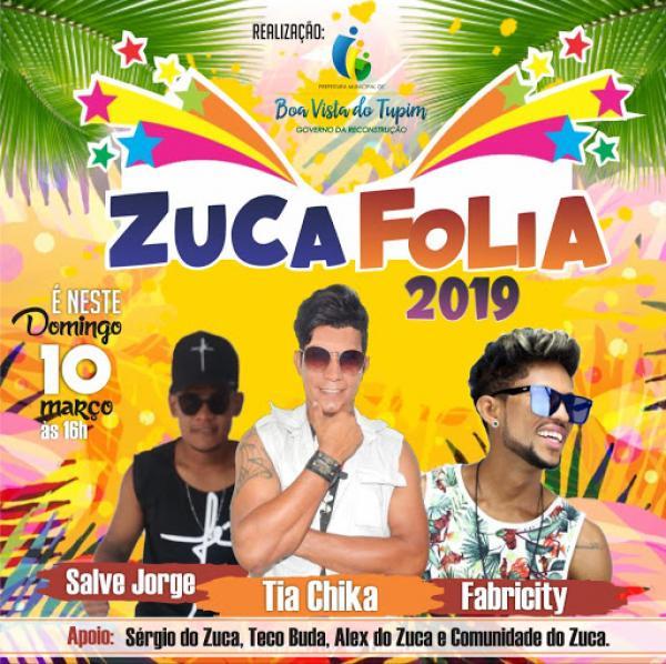 Não esqueçam! Amanhã (10/03) acontecerá o maior carnaval fora de época da região, o ZUCA FOLIA, com as bandas Salve Jorge, Tia Chika e Fabricity